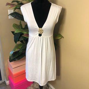 EUC Trina Turk Flowy white Dress gold detail